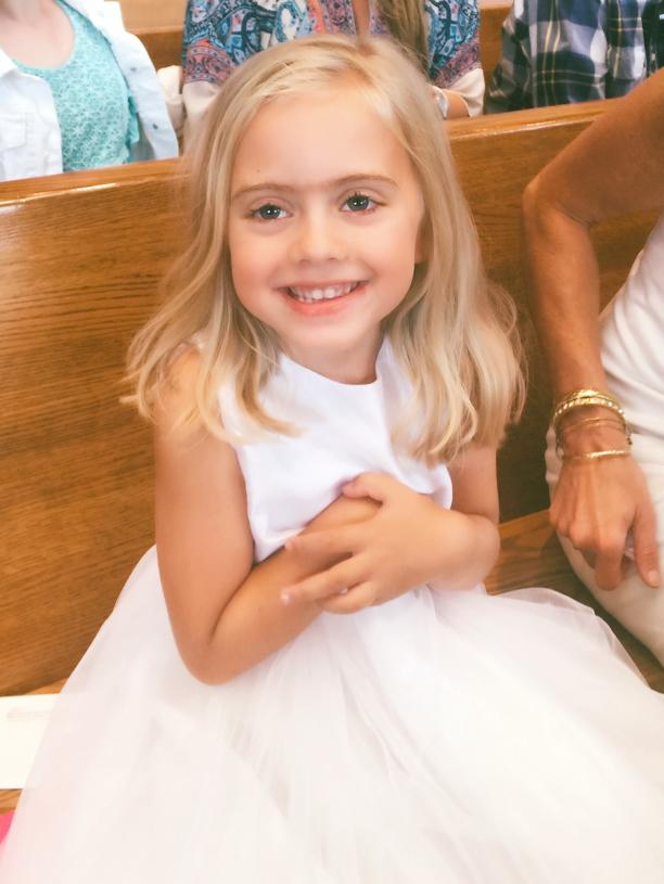 Sweet Sophia waiting for the Sacrament of Baptism